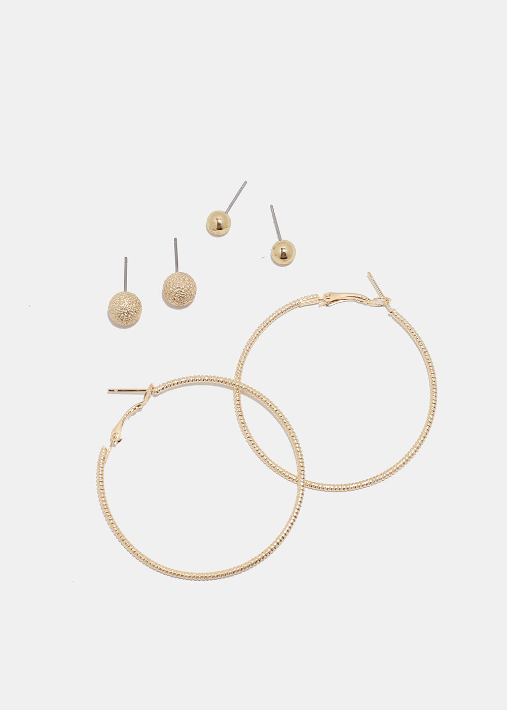 3 Pair Ball & Hoop Earring Set