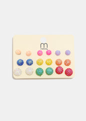 9 Pair Multi-Color Textured Stud Set