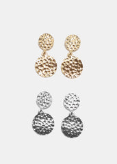 Hammered Metal Disc Earrings