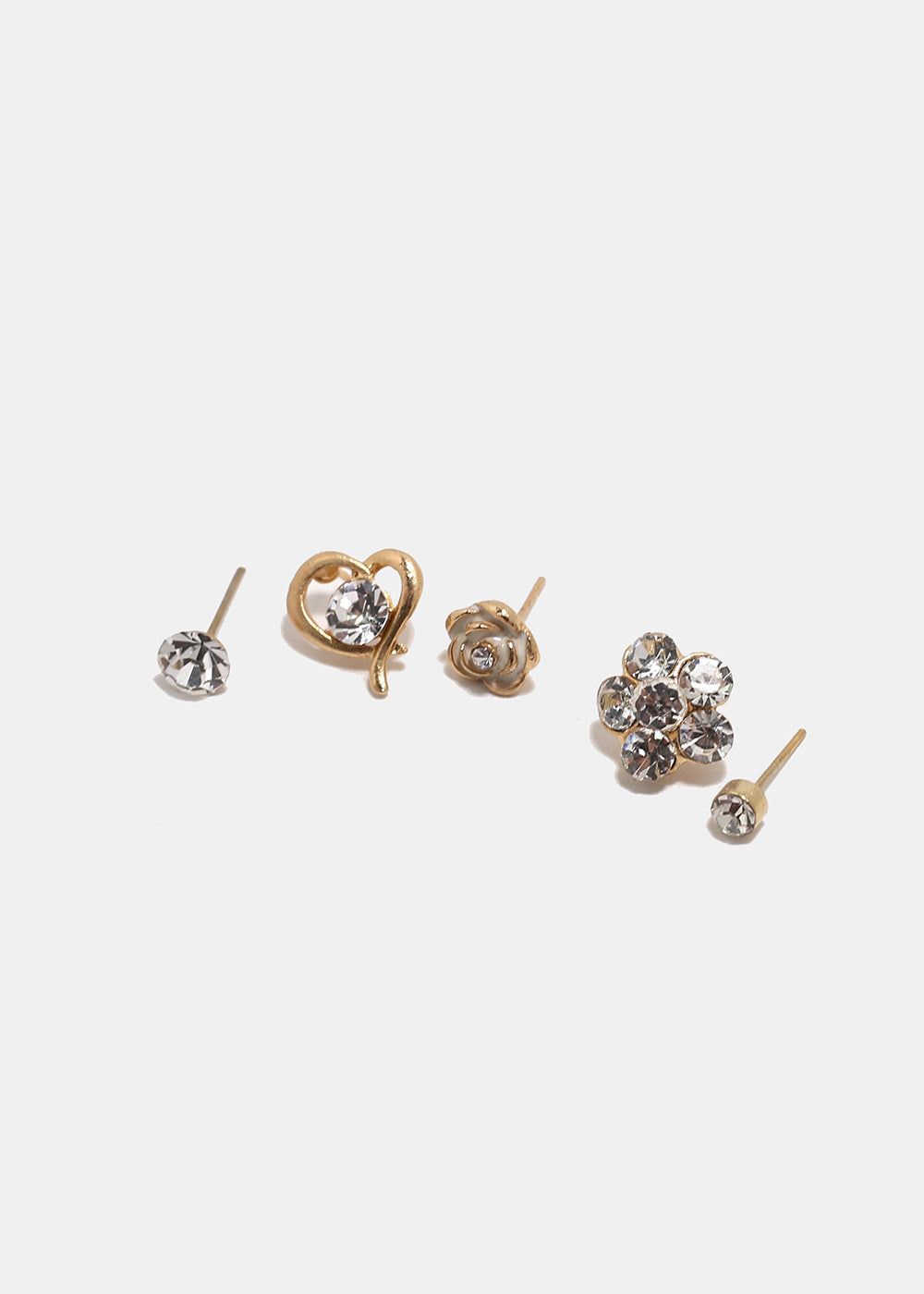 6-Pair Rhinestone Flower & Heart Stud Set