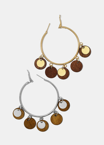 Wooden Disc Dangle Hoop Earrings