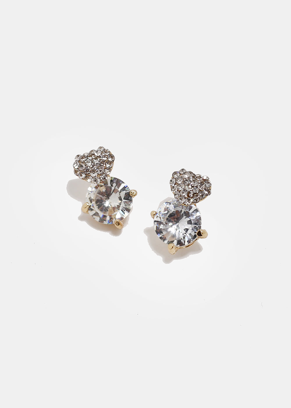 Heart Gem Stud Earrings