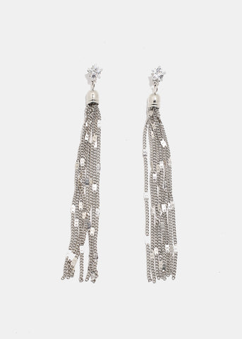 Star Gemstone Tassel Earrings