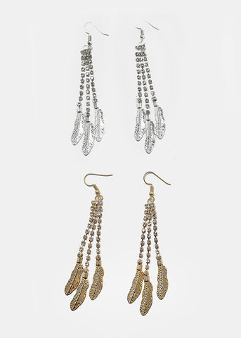 Gemstone Fringe Feather Earrings