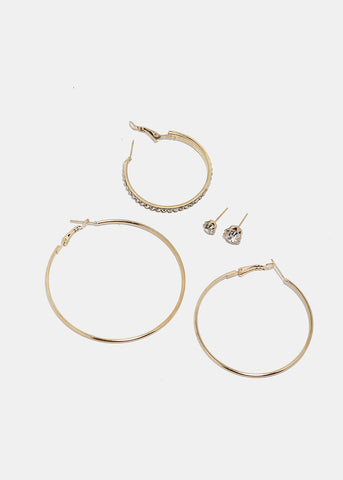 6 Pair Stud & Hoop Set