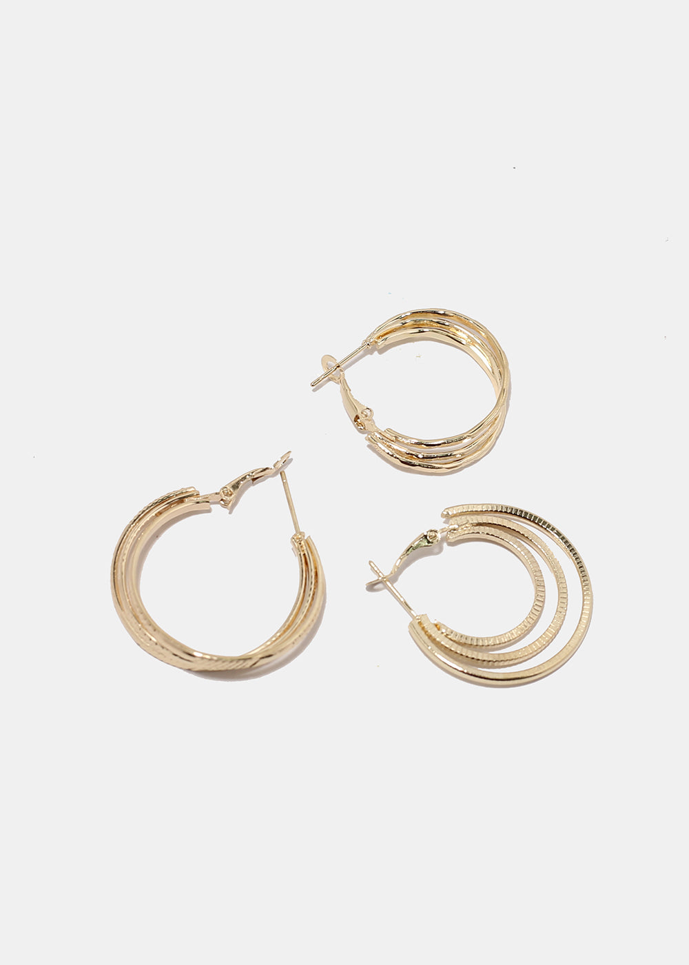 3-Pair Layered Hoop Earrings