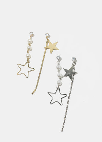 Star & Pearl Mismatch Earrings