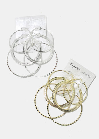 3 Pair Mix Hoop Earring Set