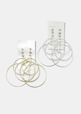 6-Pair Gem Stud & Hoop Set