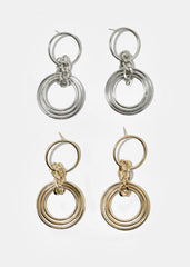 Chain Link Layered Circle Earrings