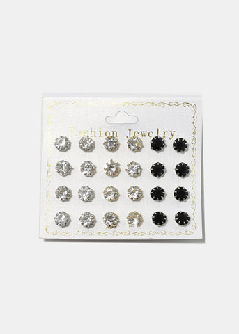 12-Pair Gem Stud Set