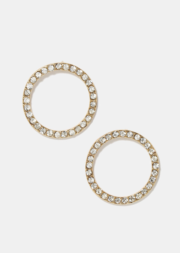 Rhinestone Circle Earrings
