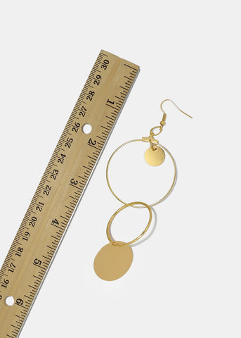 Metal Circle & Disc Dangle Earrings