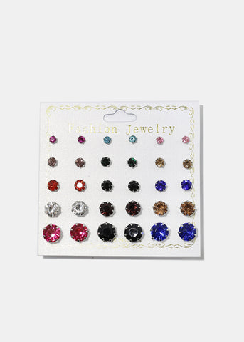 15-Pair Multi Gemstone Stud Set