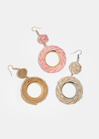 Twine Wrapped Circle Earrings