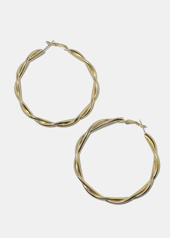 Twisted Metal Hoop Earrings