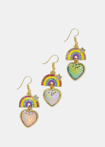 Rainbow & Heart Dangle Earrings