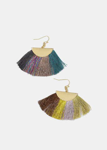 Multi-Color Fanned Fringe Earrings