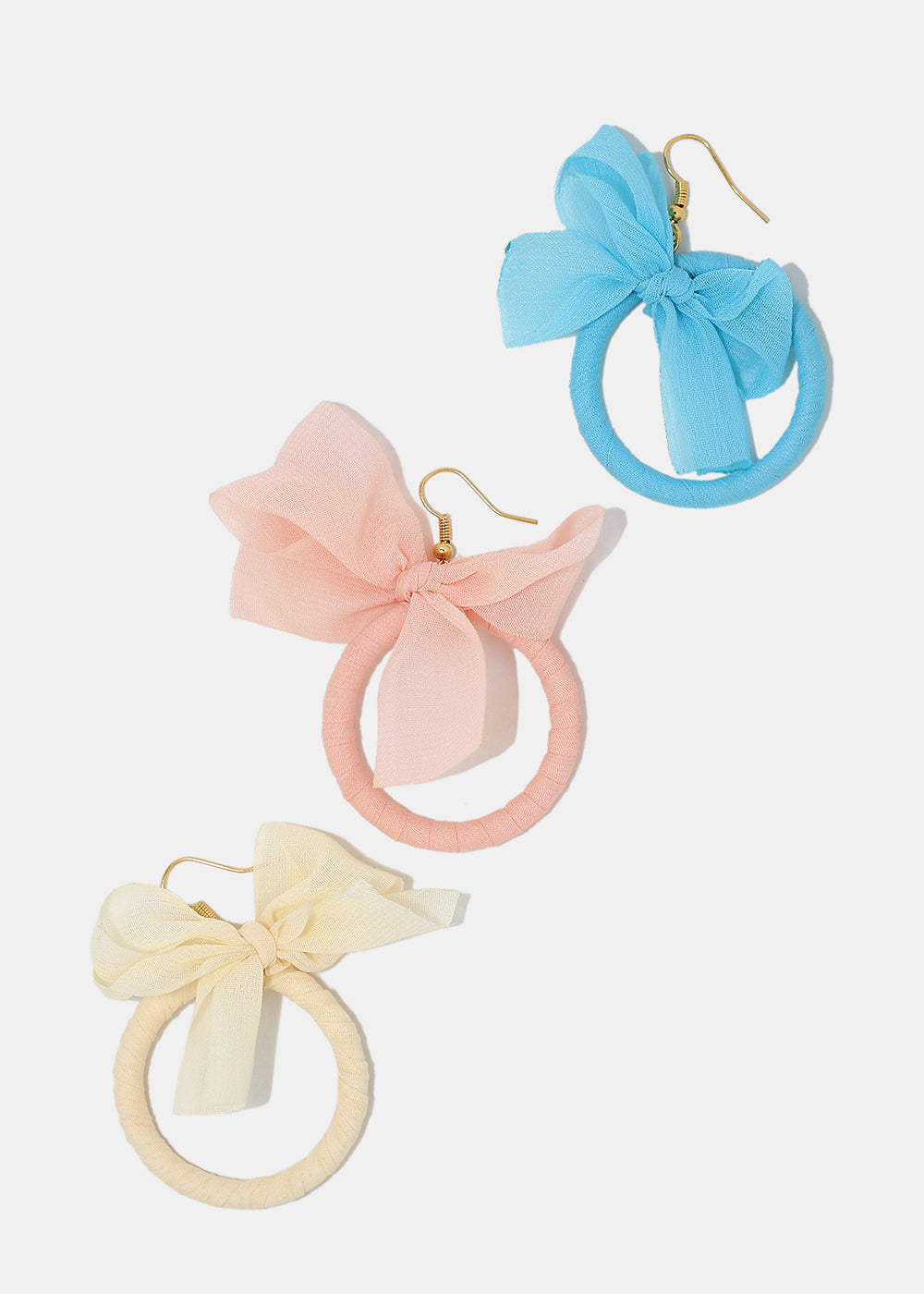 Sheer Bow Hoop Earrings