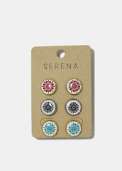 3-Pair Mandala Button Stud Earrings