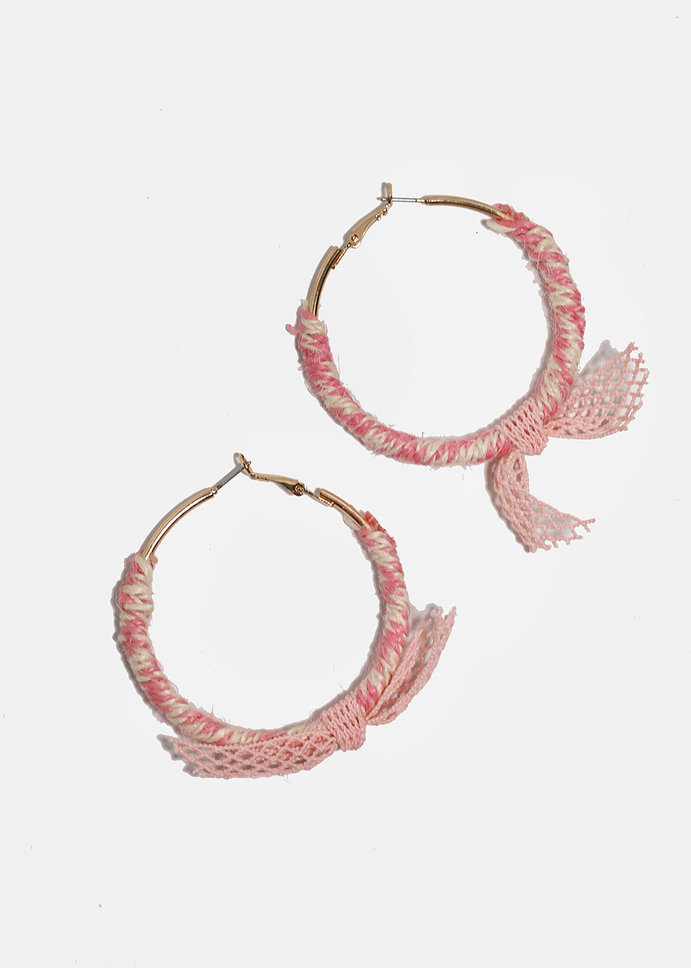 Thread-Wrapped Fishnet Tie Hoops