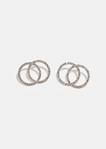 Double Rhinestone Circle Earrings