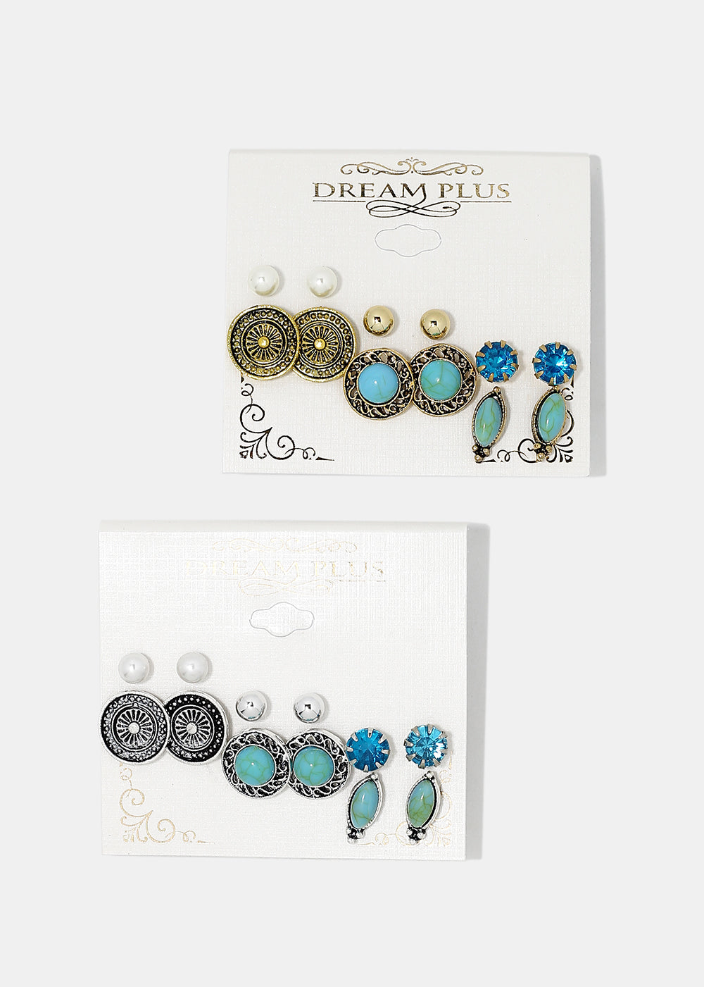 6-Pair Vintage Stone & Gem Stud Earrings