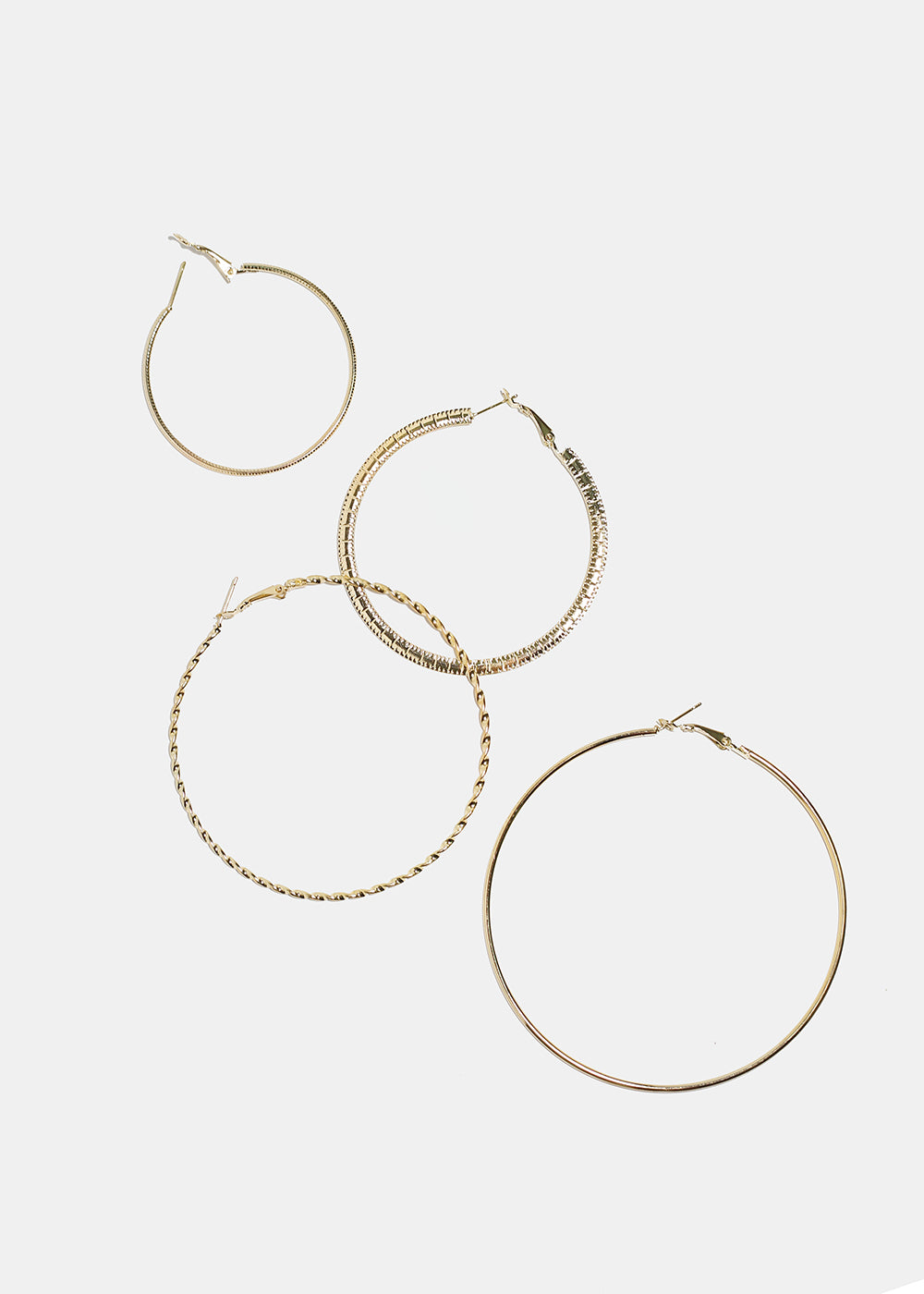 4-Pair Multi Metal Hoop Set