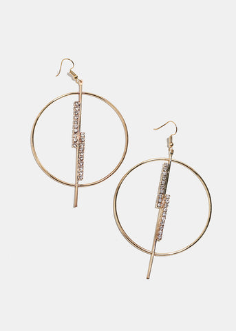 Rhinestone Bar Hoop Earrings