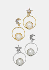 Star & Moon Pearl Circle Earrings
