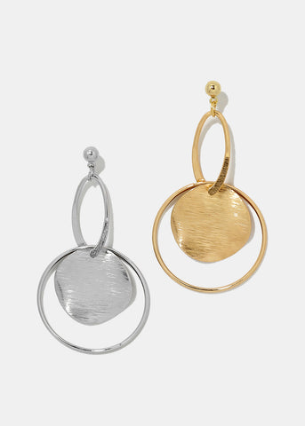 Disc & Circle Dangle Earrings