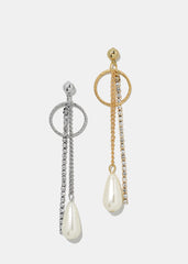 Multi Chain Pearl Drop Earrings
