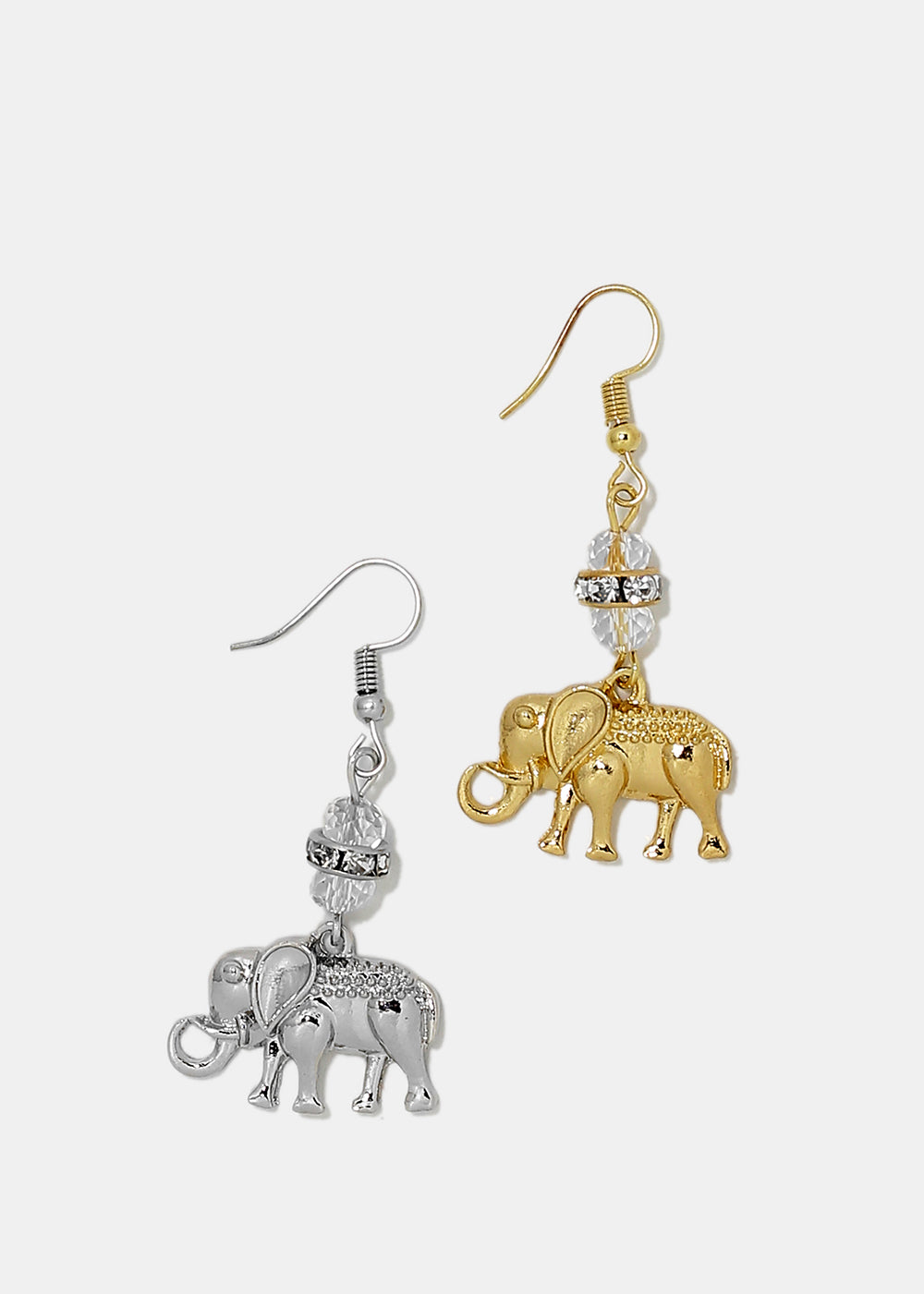 Clear Bead Elephant Dangle Earrings