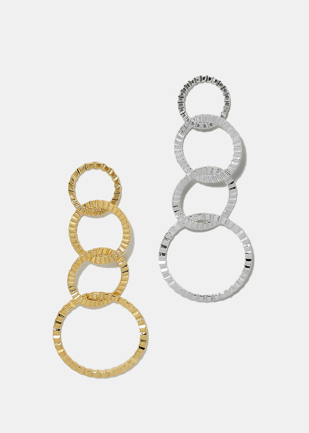 Ridged Linked Circle Earrings