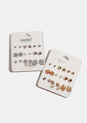 9-Pair Ball & Leaf Stud Set