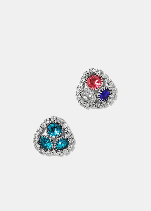 Colored Gem Triangle Stud Earrings
