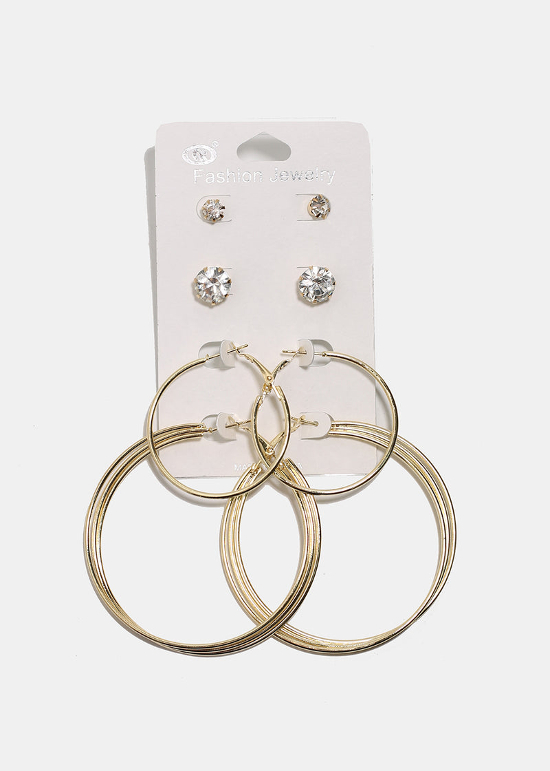 4-Pair Gold Rhinestone Stud & Hoop Set