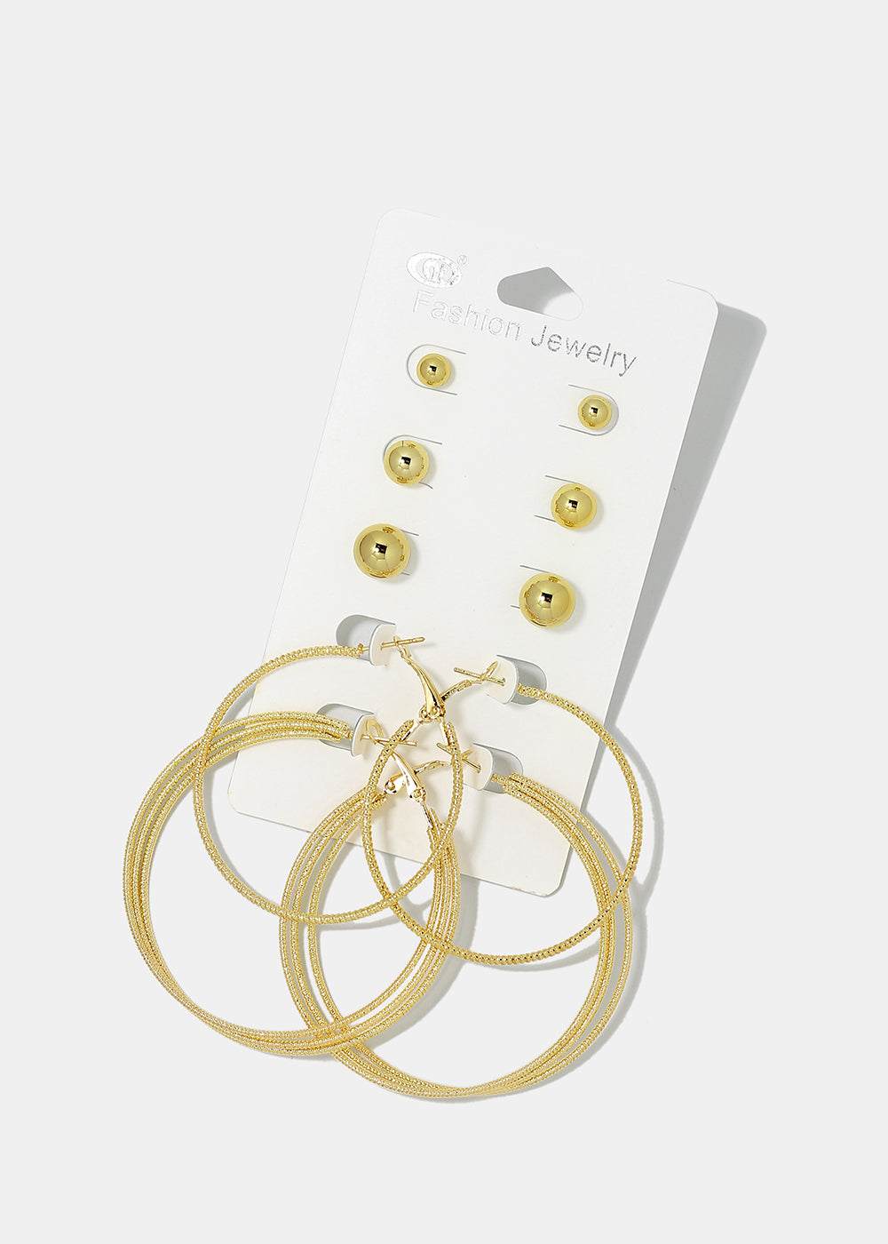 5-Pair Ball & Hoop Earring Set