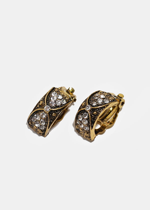 Vintage Curved Clip-On Earrings
