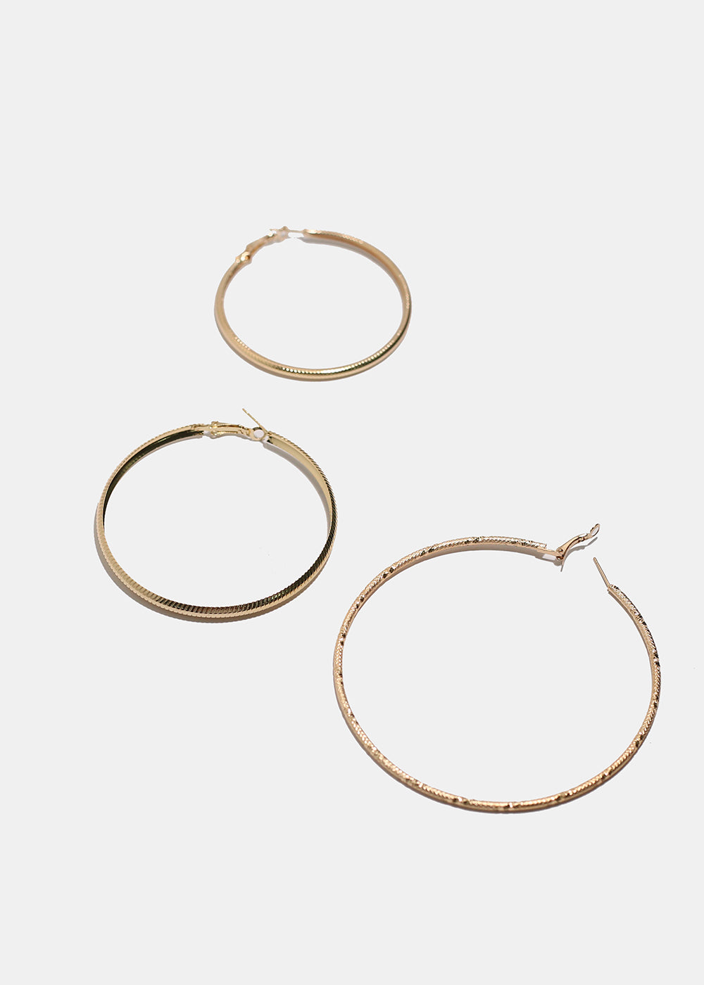 3-Pair Large Textured Hoop Earrings