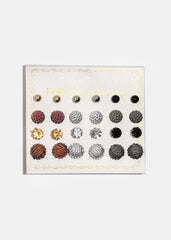 12-Pair Textured Metal Ball Stud Set