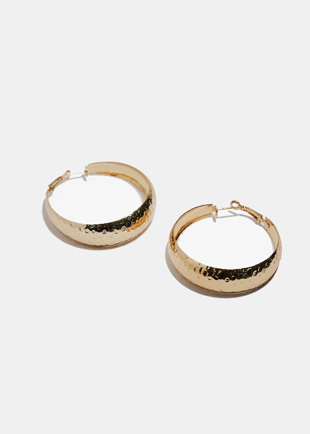 Wide Hammered Metal Hoops
