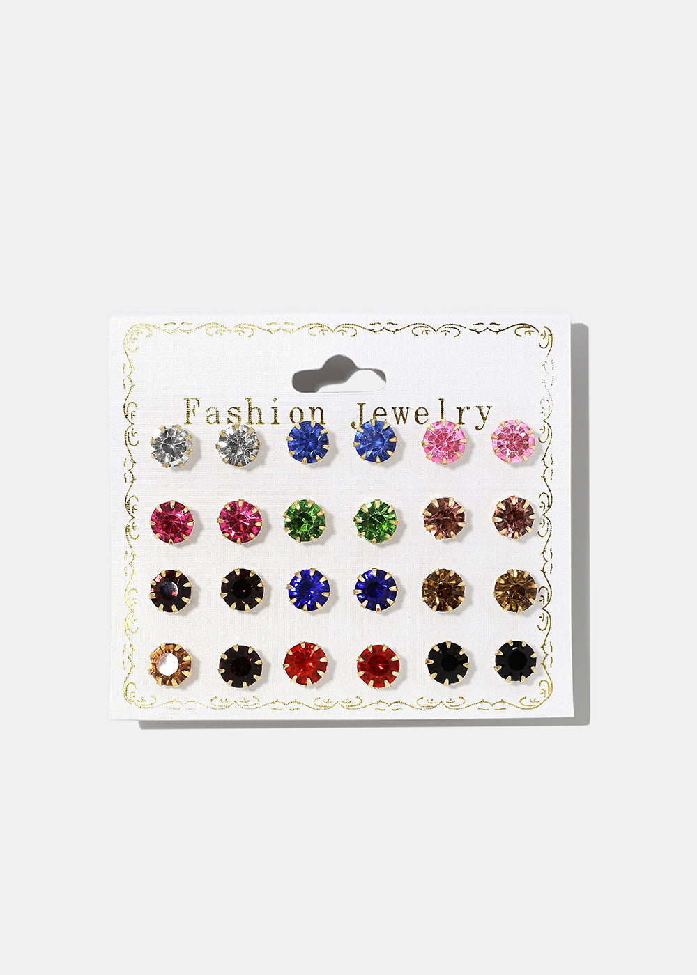 12-Pair Multi-Color Gem Stud Set