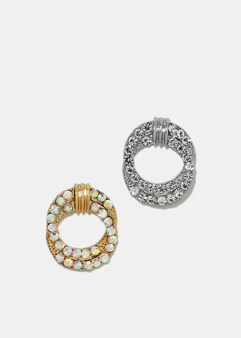 Double Layered Rhinestone Circle Earrings