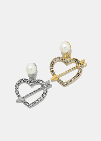 Rhinestone Heart & Pearl Earrings