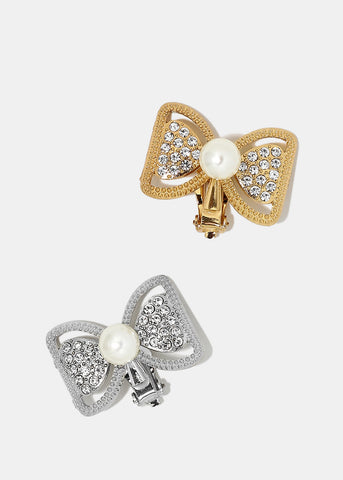 Rhinestone & Pearl Bow Earrings
