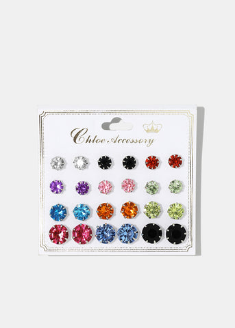12-Pair Multi-Color Gemstone Studs