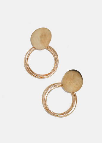 Large Layered Metal Circle Earrings