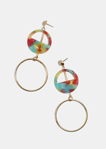 Layered Enamel & Metal Circle Earrings