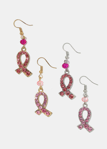 Rhinestone Pink Ribbon Dangle Earrings